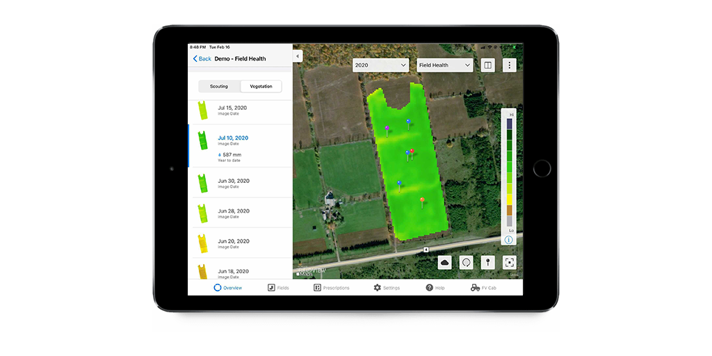 A Field health imagery snapshot generated showing the vegetation map layer.