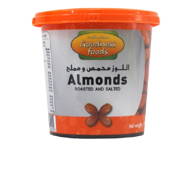 GOODNESS FOODS ALMONDS ROASTED & SALTED JAR 200gm,1.00