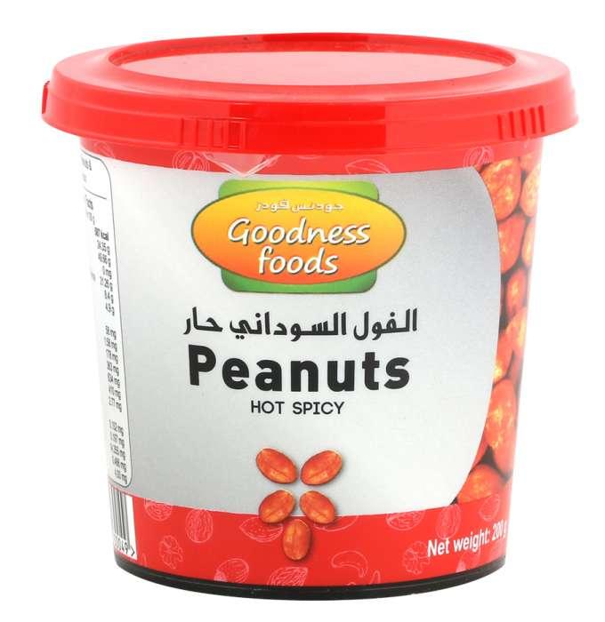 GOODNESS FOODS PEANUTS HOT SPICY JAR 200GM,1.00