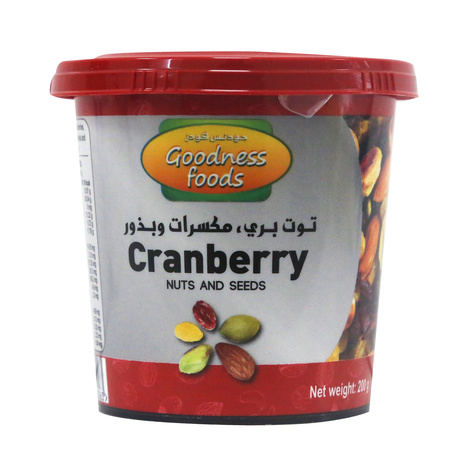 GOODNESS FOODS CRANBERRY NUTS & SEEDS JAR 200GM,1.00