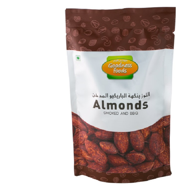 GOODNESS FOODS ALMONDS SMOKED N BBQ SP 200GM,1.00