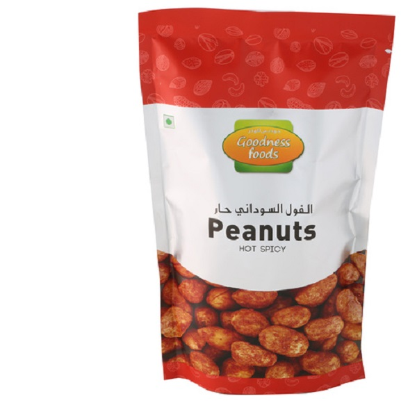 GOODNESS FOODS PEANUTS HOT & SPICY SP 200GM,1.00