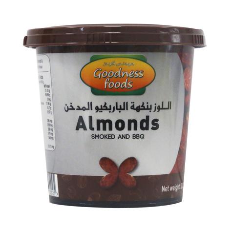 GOODNESS FOODS ALMONDS SMOKED N BBQ JAR 200GM,1.00