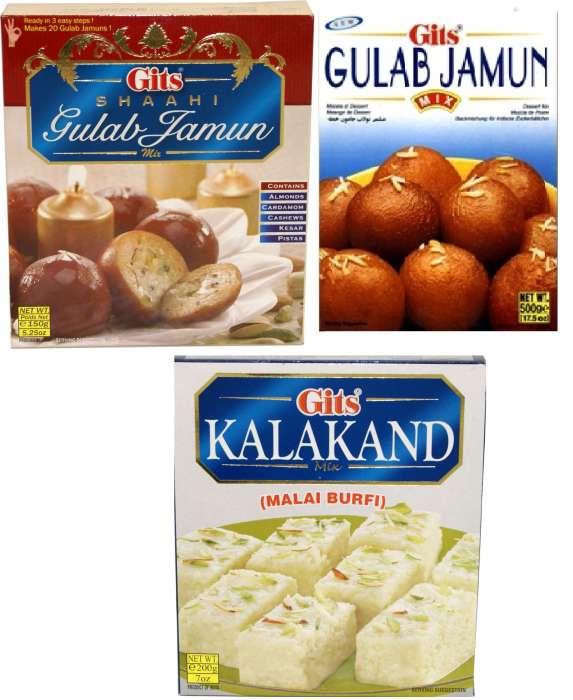 Gits Sweets Mix 200 GMS - Gulab Jamun, Shahi Gulab Jamun, Kalakand,2.00