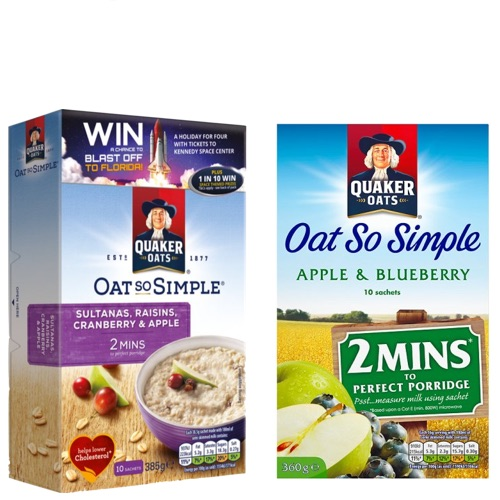 QUAKER OATS SO SIMPLE 360g - 2 varieties,7.25