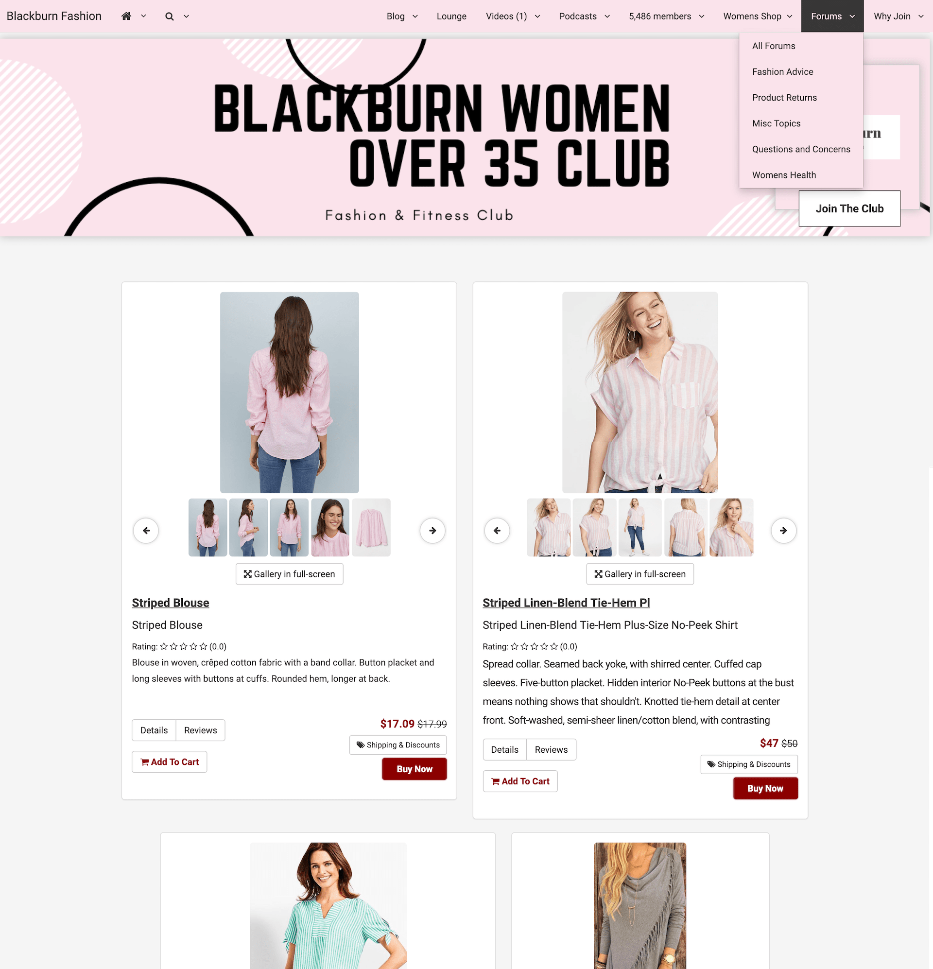 Blackburn Women Over 35 Fashion Club Shop