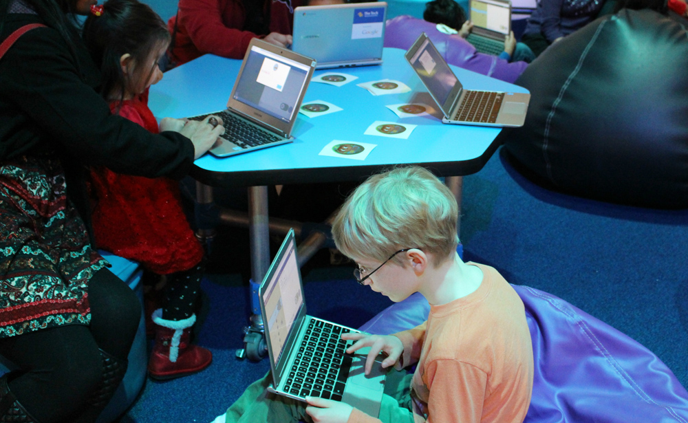 kids playing hour of code