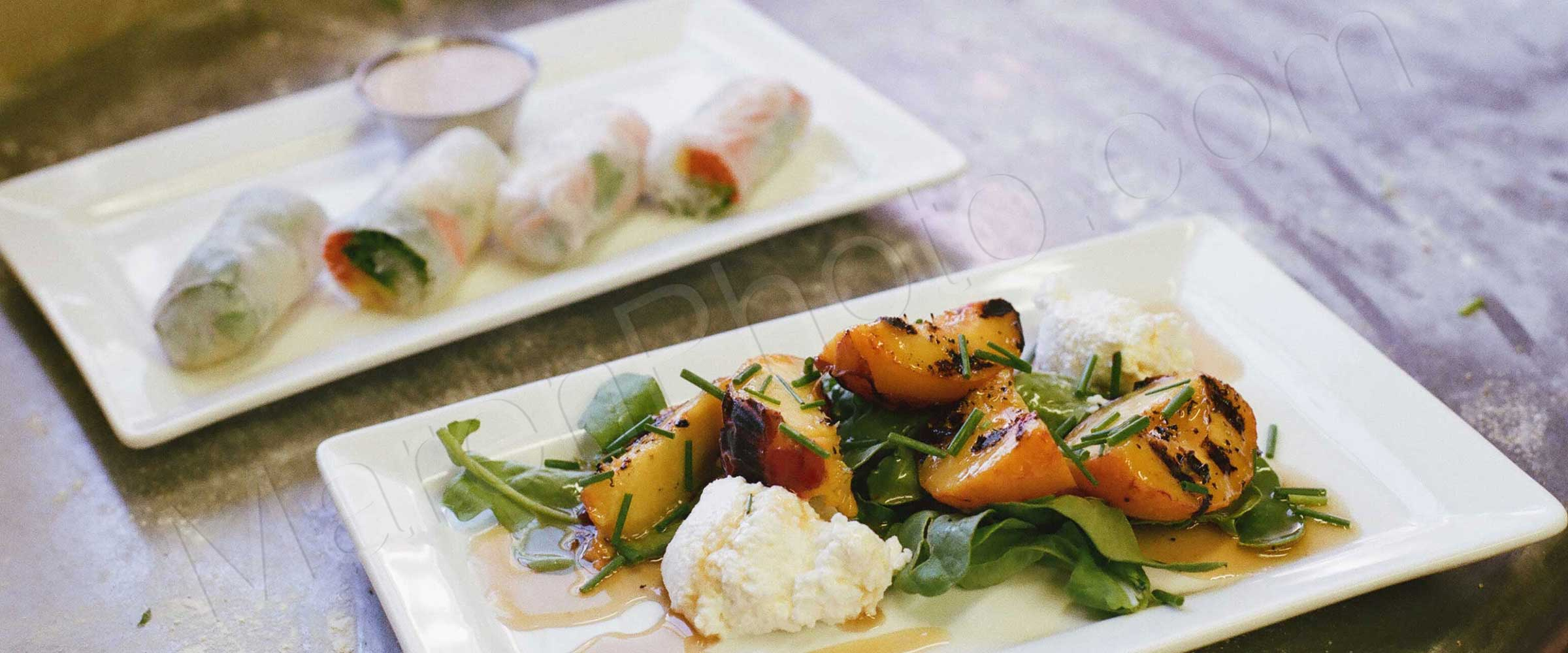 Grilled peaches and fresh spring rolls