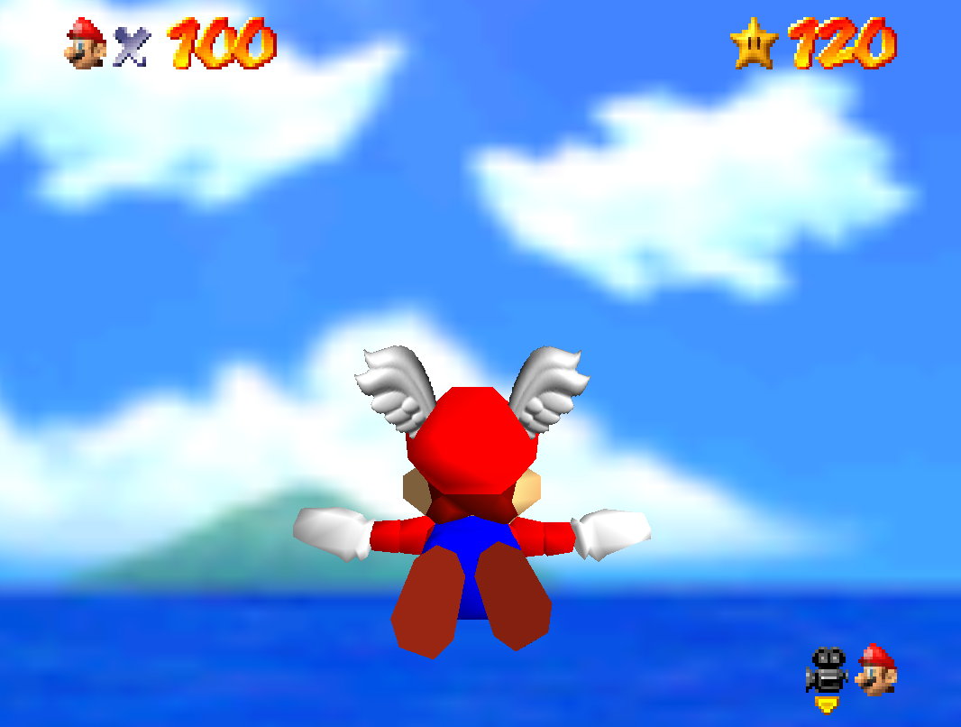 Mario flying into the sky