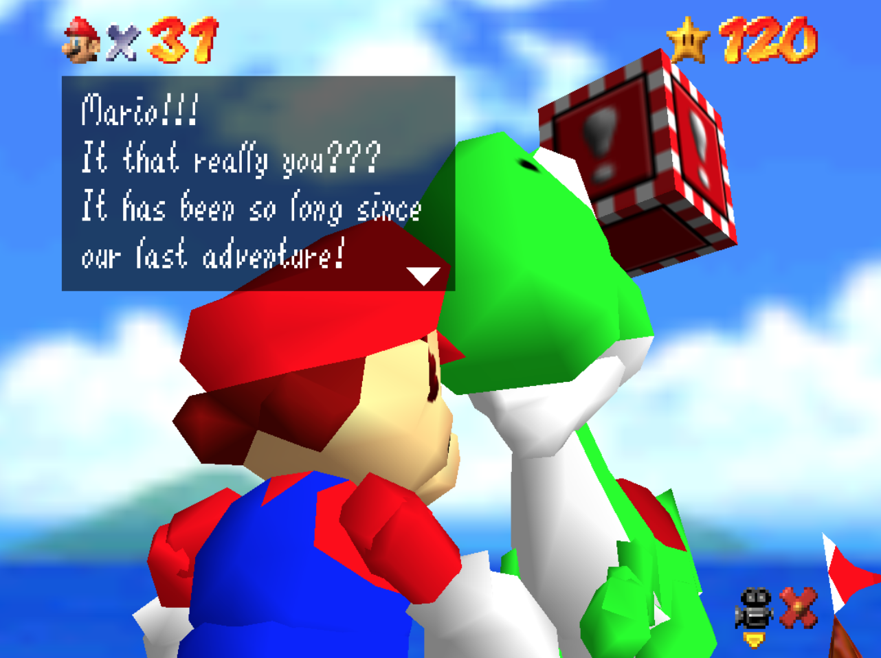 "Yoshi says, ""Mario, is that really you??? It has been so long since our last adventure."""