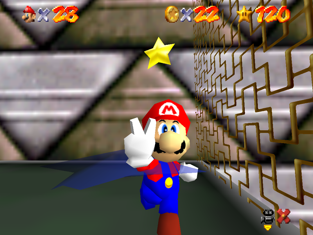 Mario collecting the final star in Super Mario 64