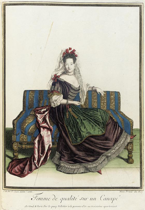Recueil des modes de la cour de france 39 femme de qualit sur un canap 39 lacma collections - Canapes de qualite ...