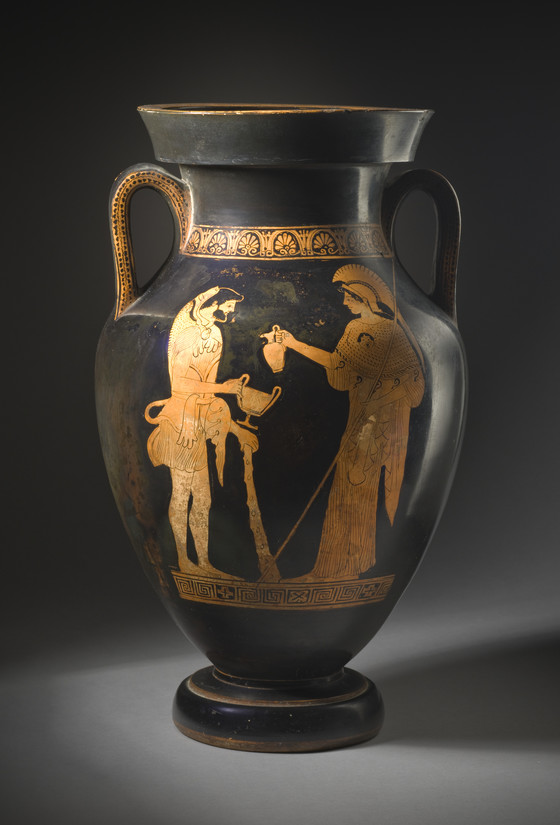 Amphora With Athena Pouring Wine For Herakles And A Woman Pouring Wine For Dionysos Lacma