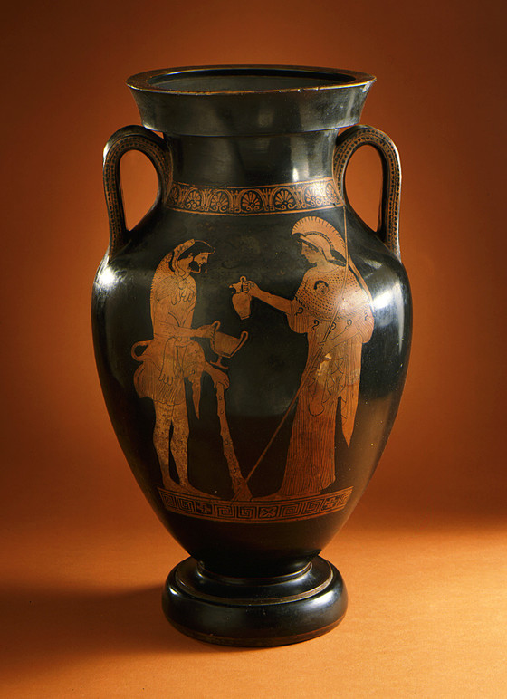 Amphora With Athena Pouring Wine For Herakles And A Woman
