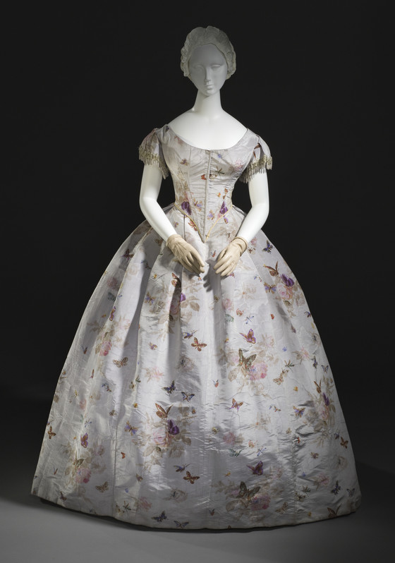 Warp printed silk moire gown, c.1865 from LACMA collection.