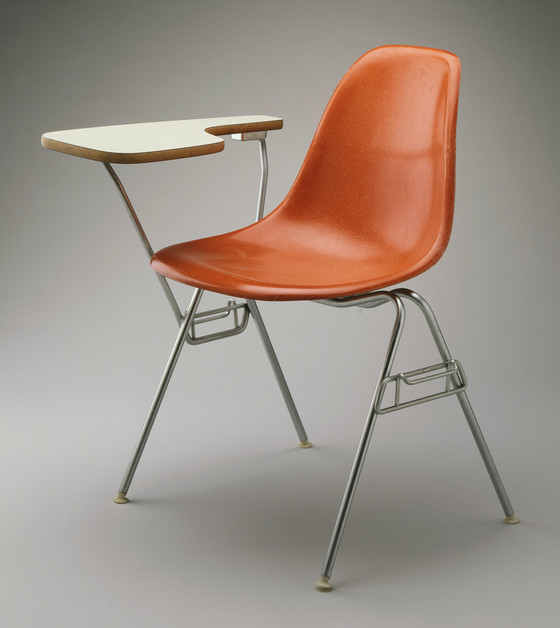 dss plastic stacking chair with table arm lacma collections