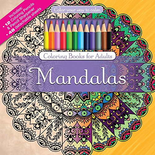 Mandalas Adult Coloring Book Set With Colored Pencils And Pencil Sharpener Included Color Your Way To Calm Music