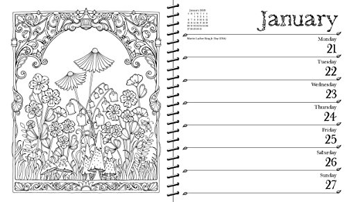 johanna basford 2018 2019 16 month coloring weekly planner calendar