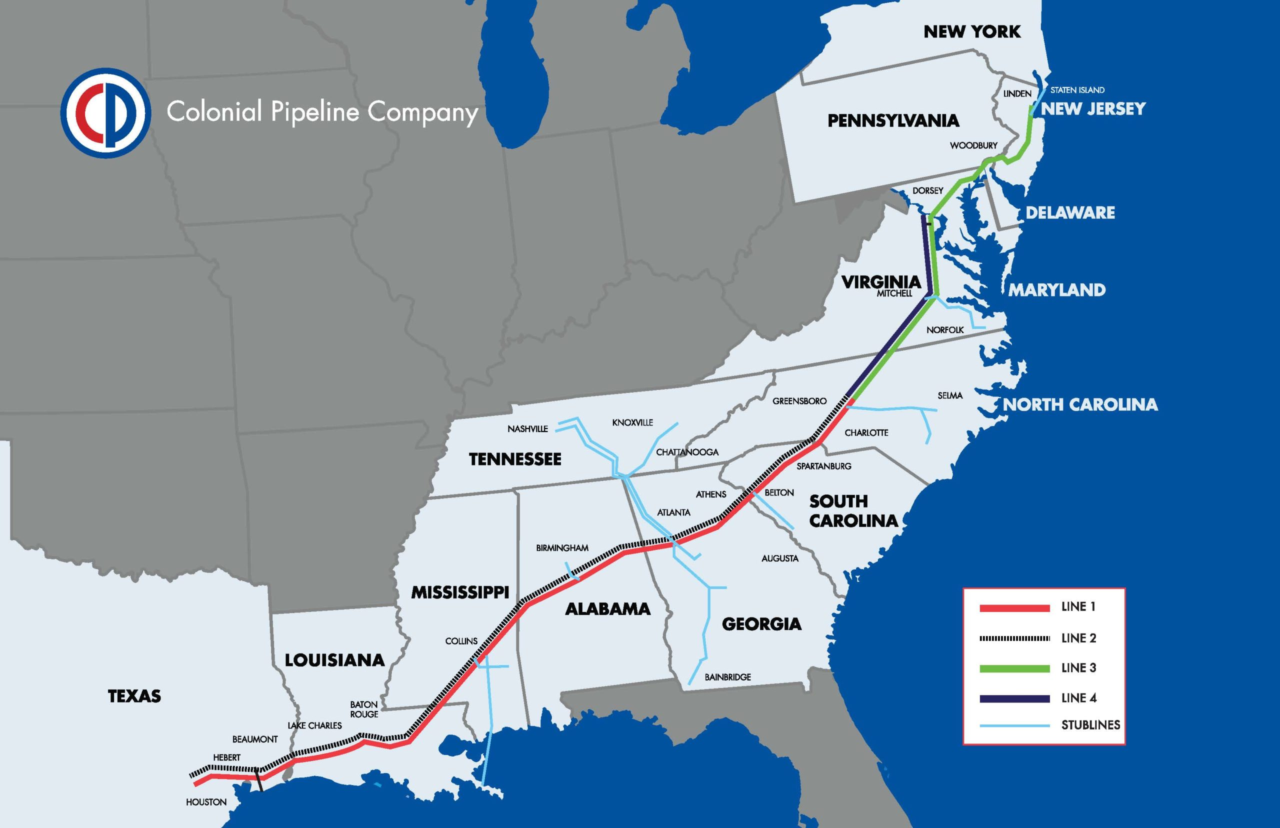 Colonial Pipeline System Map
