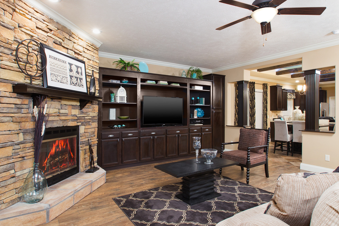 Canyon Full Rock Corner Fireplace with Espresso Mantle