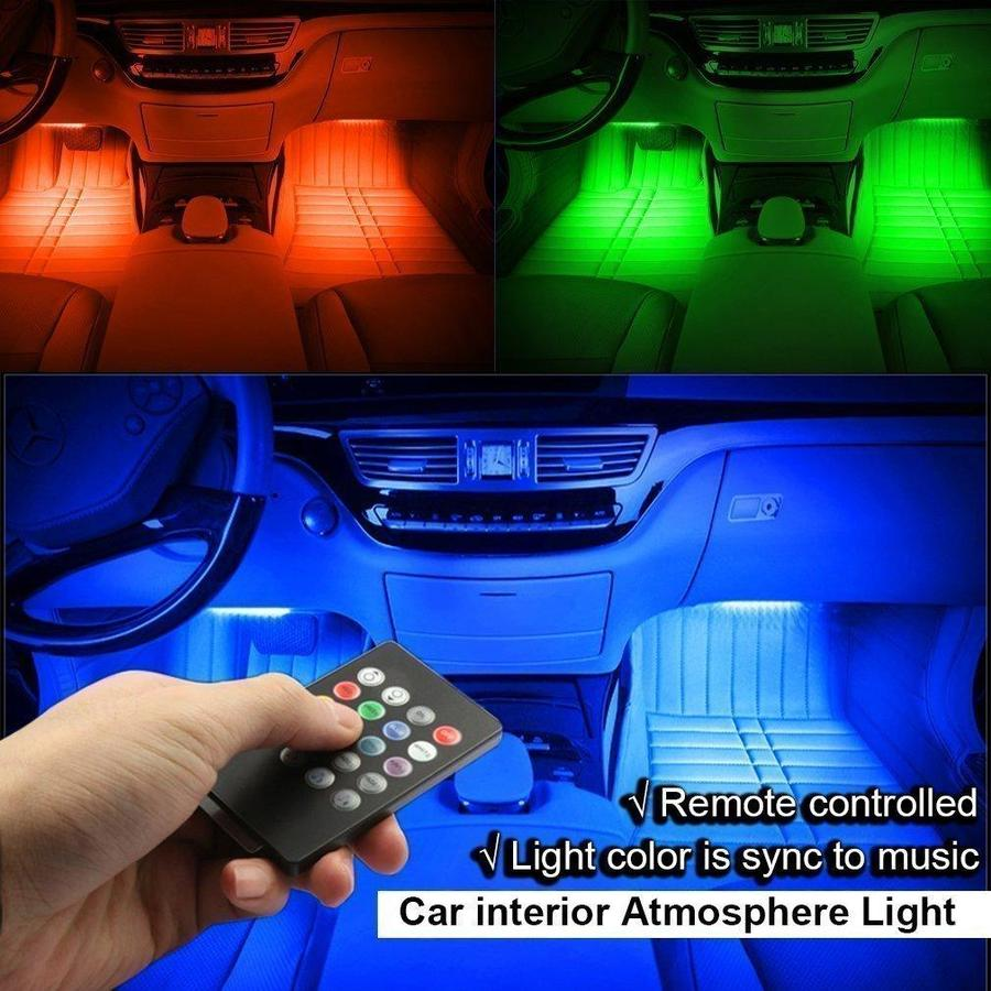 Rgb car led strip lights 4 pieces mozeypictures Images