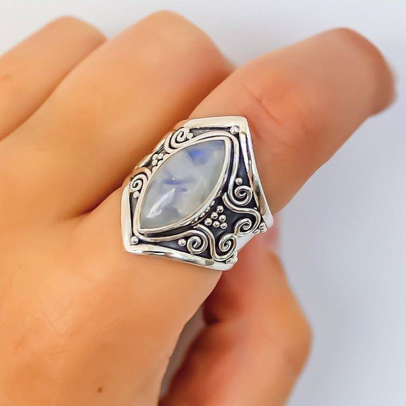 Natural Moonstone 'Full Moon' Ring5