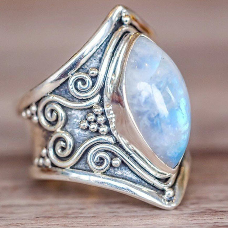 Natural Moonstone 'Full Moon' Ring3