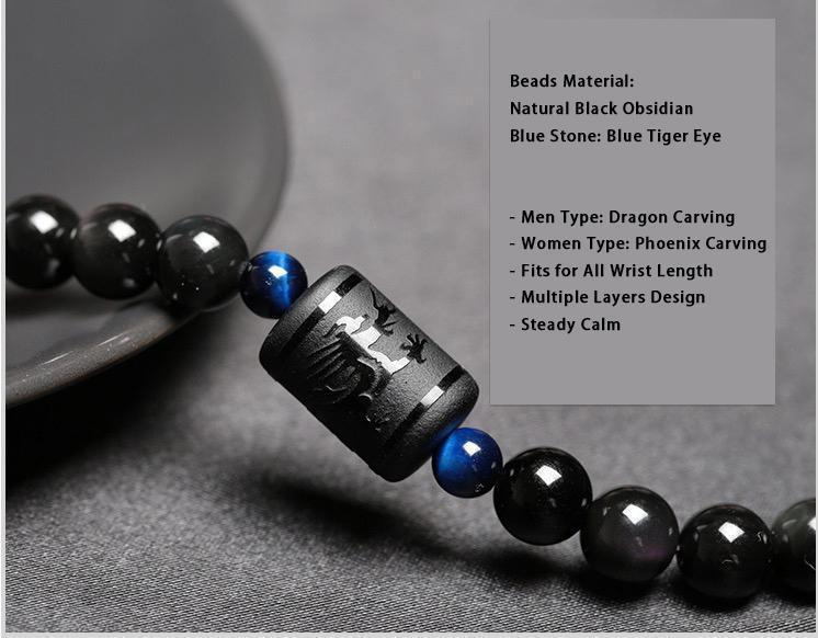 Dragon&Phoenix Obsidian Bracelet10