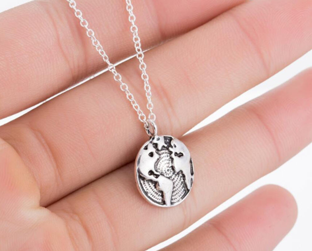 Silver World Map Necklace6