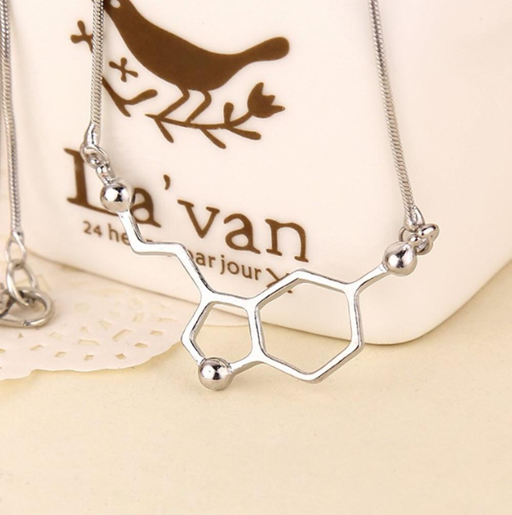 Happiness Seratonin Molecule Necklace4