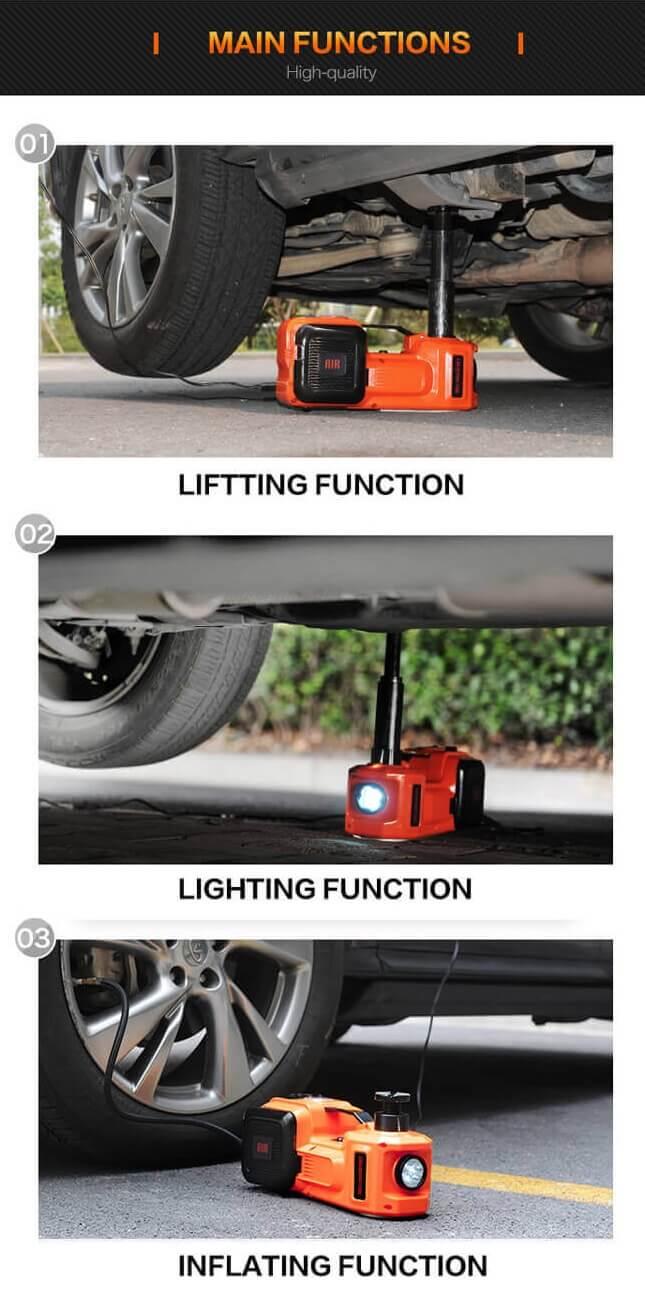 3-Function Emergency Auto Electric Hydraulic Jack