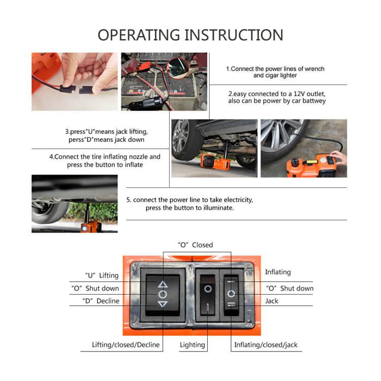 3-Function Emergency Auto Electric Hydraulic Jack2