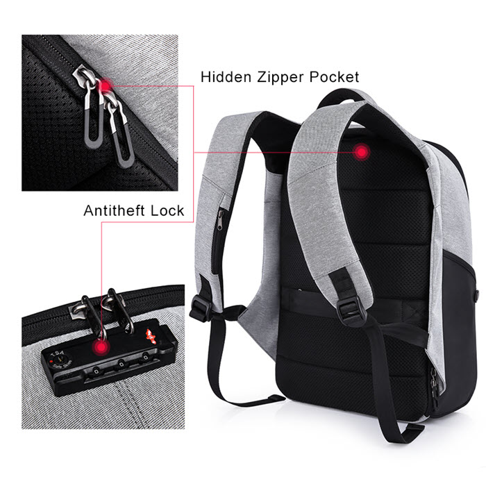 Secutiry Lock USB Backpack3
