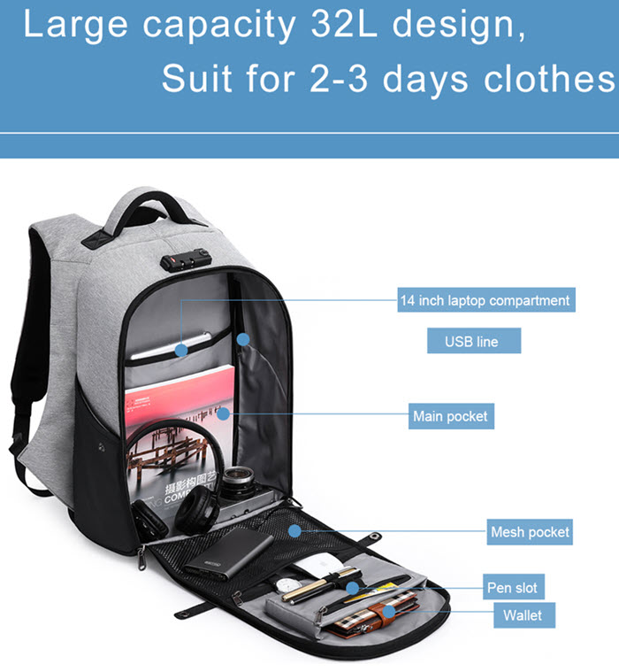 Secutiry Lock USB Backpack8