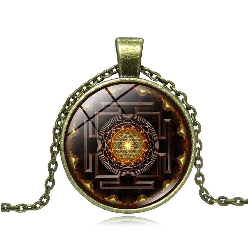 Sacred Sri Yantra Necklace BRONZE
