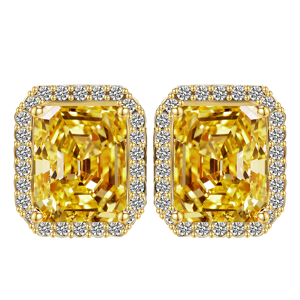 citrine zirconia round yellow cubic cz products gold prong set stud earrings