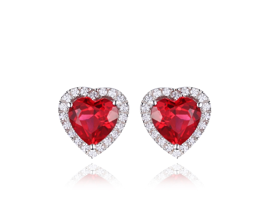 round solitaire majesty stud red earrings bijoux in o gemstone cut yellow gold prong ruby