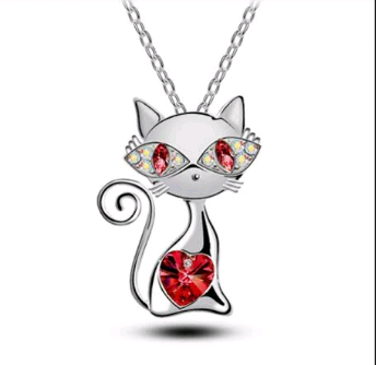 July birthstone ruby smiley cat pendant necklace this is my birth stone mozeypictures Choice Image