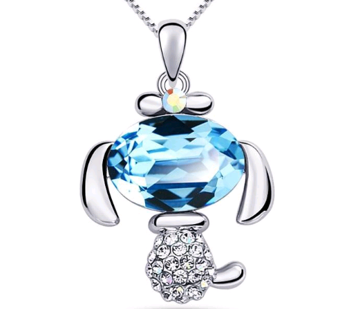 March birthstone aquamarine charming puppy pendant necklace mozeypictures Choice Image