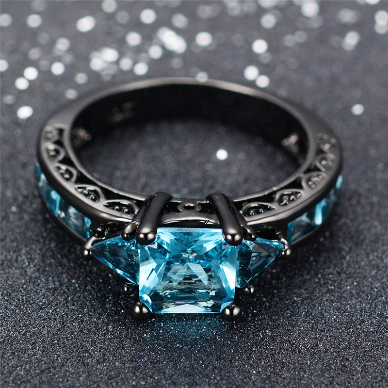 Black Gold Aquamarine Gemstone Ring
