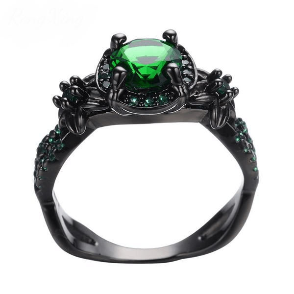 Black Gold Emerald Ring