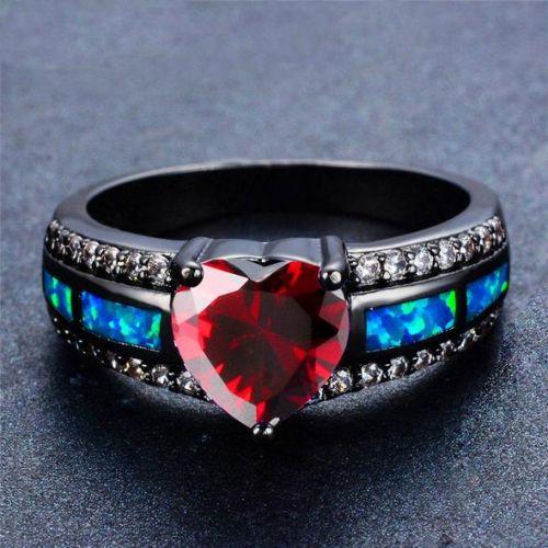 black gold january birthstone heart ring. Black Bedroom Furniture Sets. Home Design Ideas