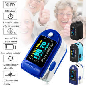Pulse monitor with OLED multi direction display of blood o2 readings