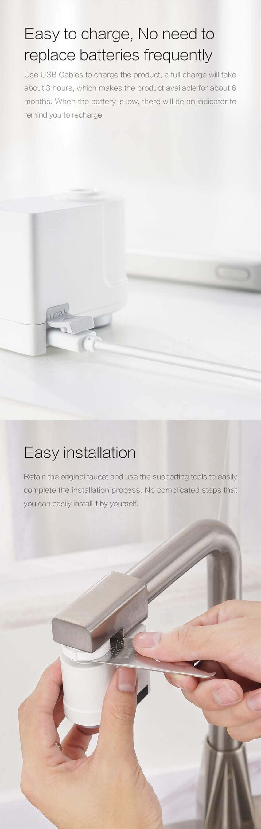 the touchless faucet with 5 minutes easy installation instructions