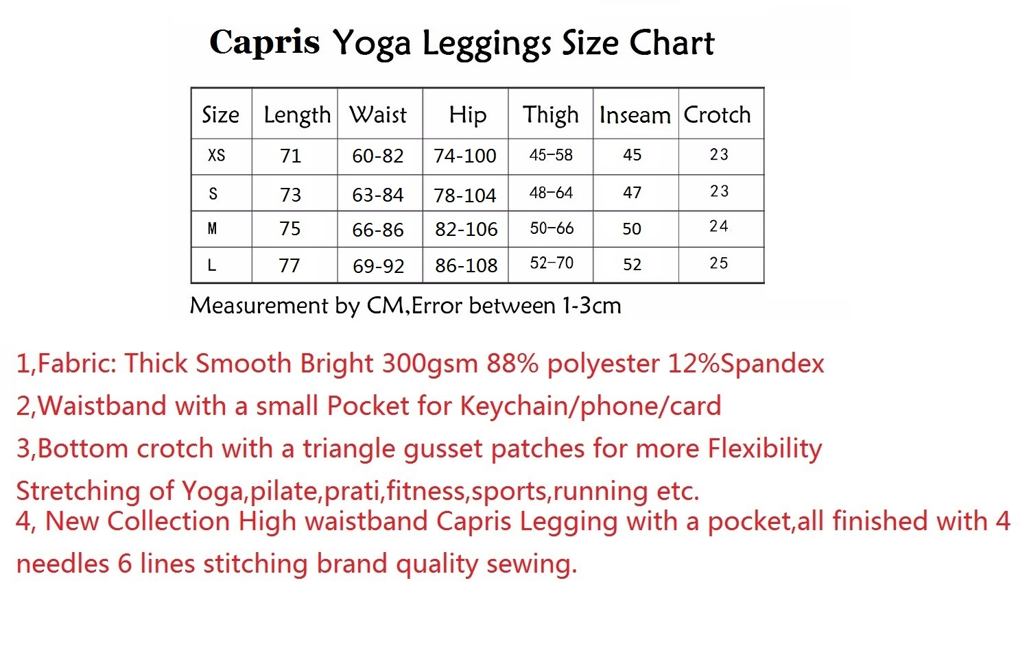 High waistband Capris LEGGING SIZE CHART (2)_