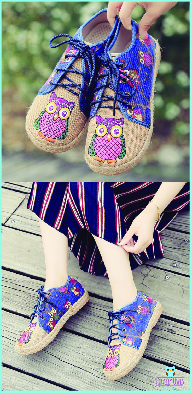 Comfortable Oxford Owl Flat Shoes - has an Anti-sweat and anti-odor canvas material which is perfect for everyone.//Women shoes//Teen shoes//Owl painted pretty and fashion shoes//Owl lovers shoes outfit//