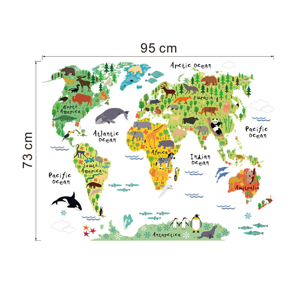 Kids World Map Decal - Kids world map wall decal