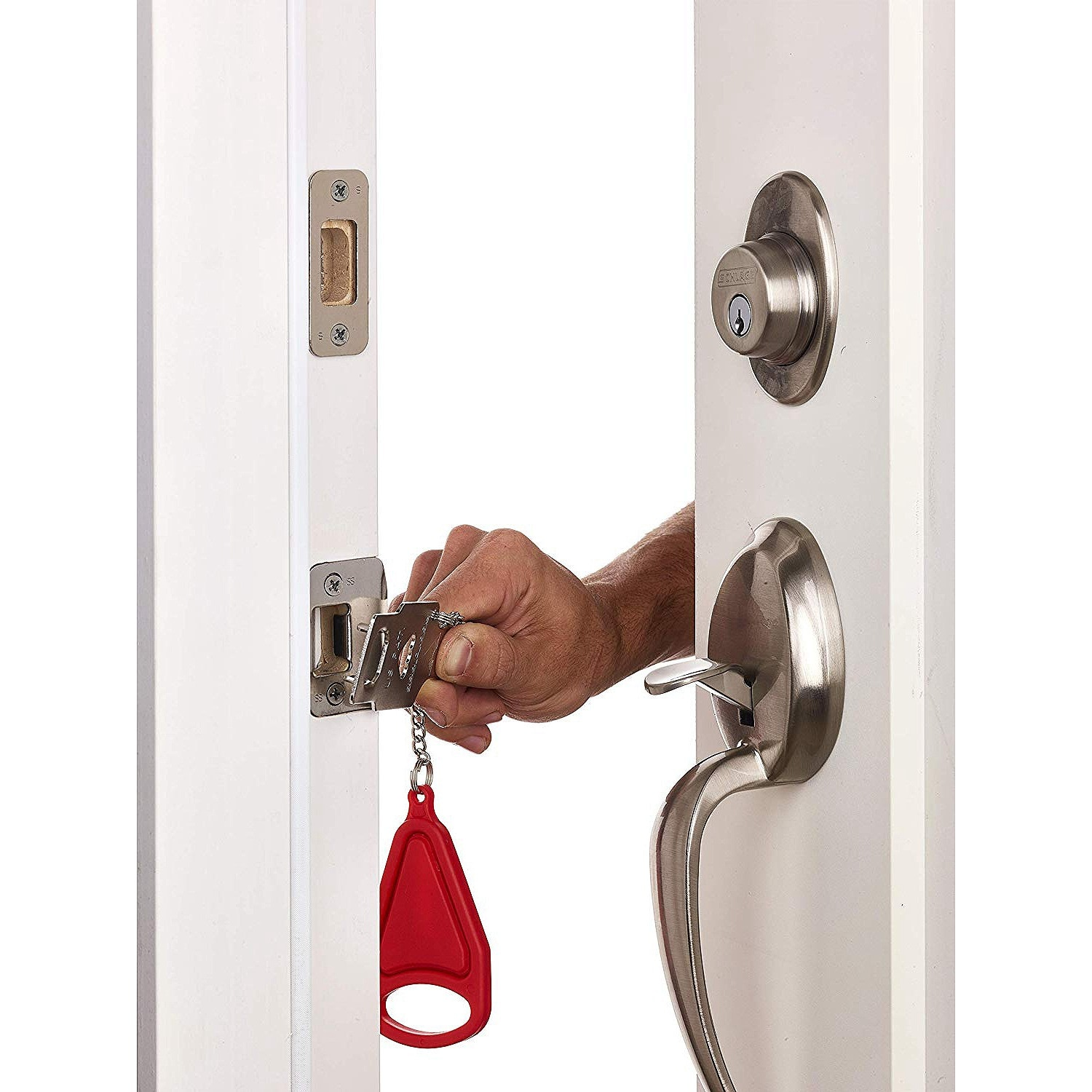 PORTABLE DOOR LOCK - ADDS AN EXTRA LAYER OF PROTECTION!