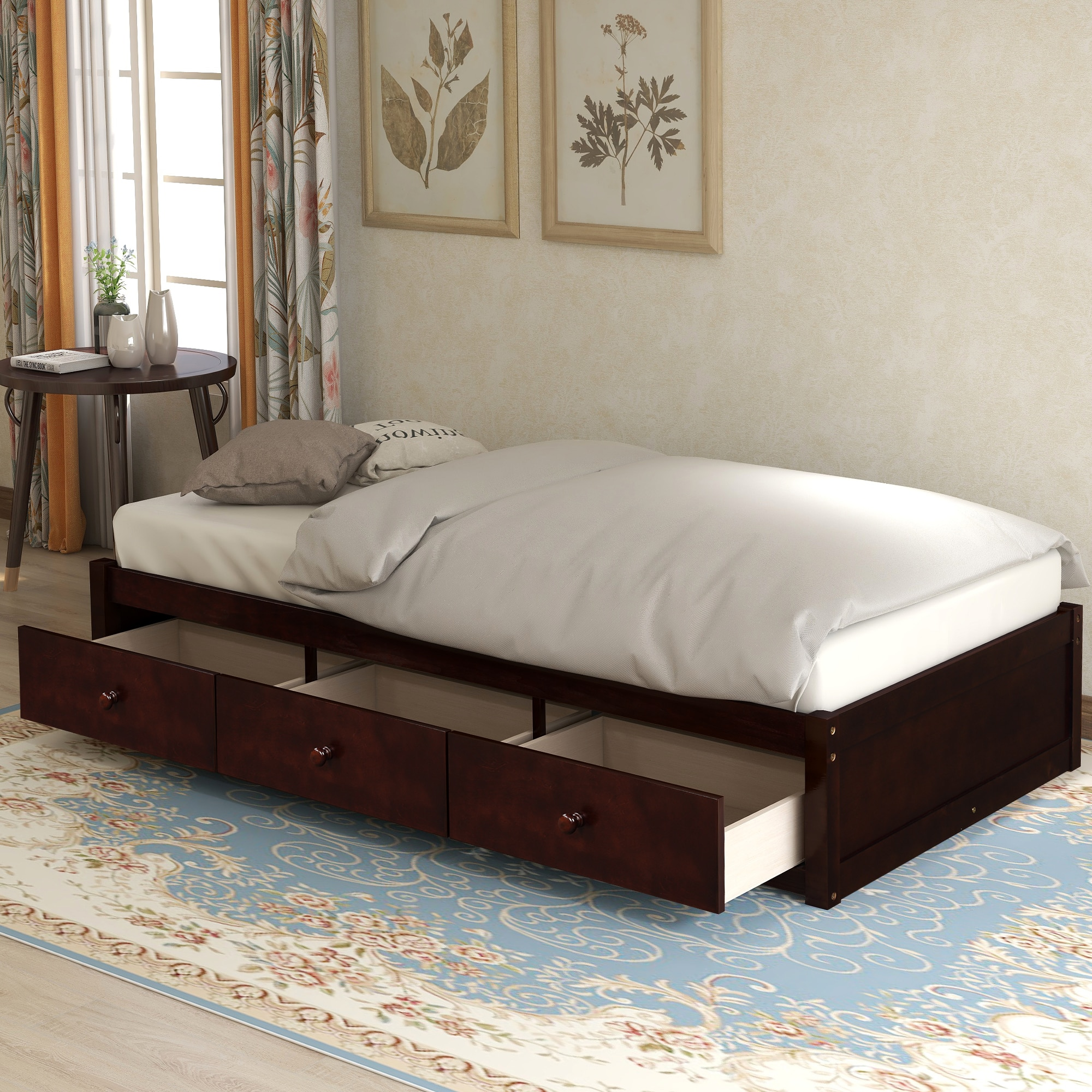 Picture of: Twin Size Platform Storage Bed 3 Drawers More Storage Space For Bedroom Apartment Solid Wood Sturdy Mdf And Composite Wood Beds