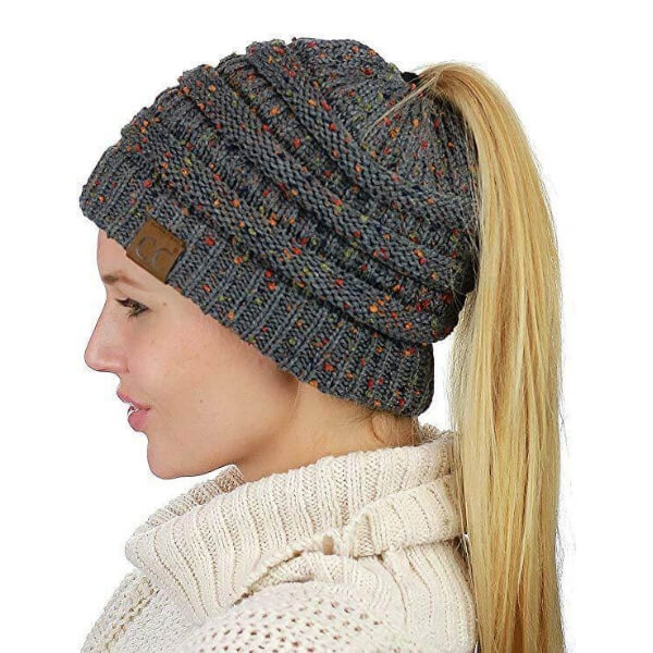 f33538450e3 Crochet messy bun hats or ponytail hats are the trendiest projects this  season! These hats keep your head warm and your hair frizz-free.
